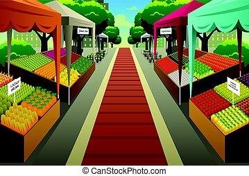 ilustración, plano de fondo, mercado de productos de granja