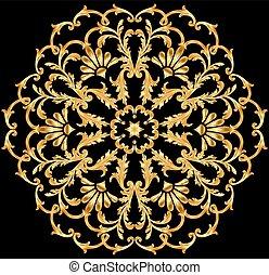 ilustración, plano de fondo, oro, ornamentos, circular