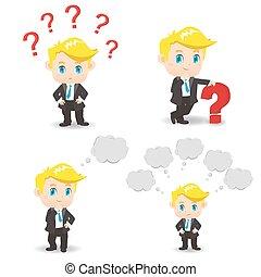 ilustración, pregunta, caricatura, hombre de negocios