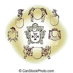 ilustración, protector, diseño, conjunto, con, vario, formas, y, decoración