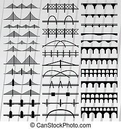 ilustración, puente, siluetas, colección, plano de fondo