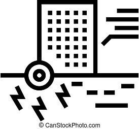 ilustración, rascacielos, resistencia, icono, línea, sísmico, vector