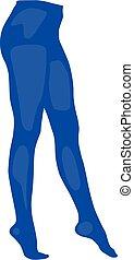 ilustración, realista, vector, manguera, panty, aislado, azul