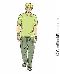 ilustración retrato, de, un, tipo, ambulante