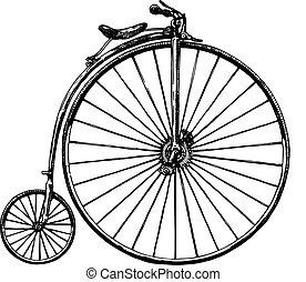 ilustración, retro, bicicleta