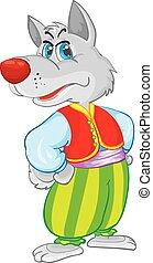 ilustración, rojo, yema, plano de fondo, lobo, lindo, pantalones, blanco, objeto, aislado, harén, verde, carácter, vector