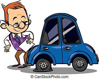 ilustración, roto, vector, coche., agente, seguro,...