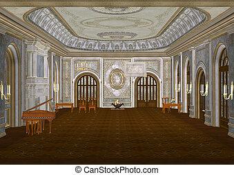 ilustración, salón de baile, 3d