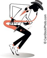 ilustración, saxofonista, afroamericano