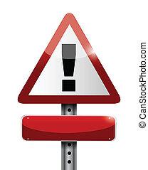 ilustración, señal, advertencia, diseño, blanco, camino