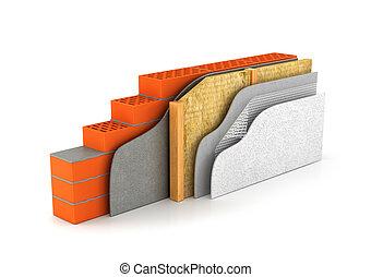 ilustración, section., esquema, aislamiento, casas, walls., 3d, cruz