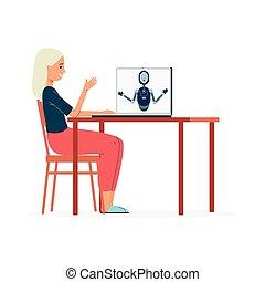 ilustración, servicio, mujer, isolated., el comunicarse, ...