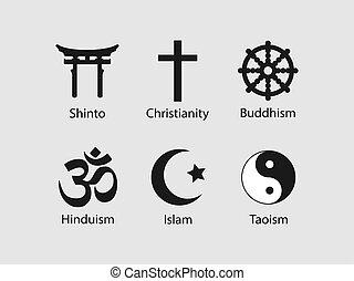 ilustración, set., vector, icono, símbolos, religioso, ...