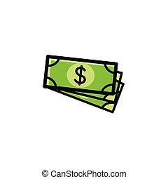 ilustración, si, paquete, editable, concepto, dólares,...