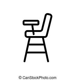 ilustración, silla, encimera, alimentación, contorno, icono, de madera, vector