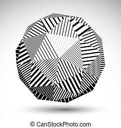 ilustración, simétrico, esférico, tecnología, vector, 3d, perspecti