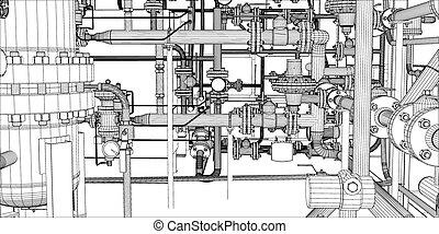 ilustración, sistema, equipo de calefacción