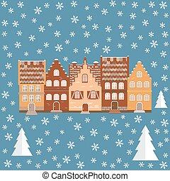 ilustración, snow., vector, casas