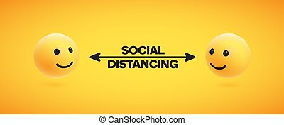 ilustración, social, distancing, vector