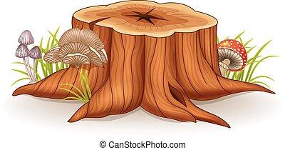 ilustración, tocón, árbol