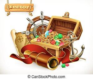 ilustración, treasure., vector, aventura, pirata, 3d