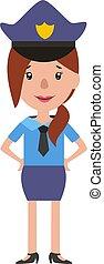 ilustración, uniforme, vector, plano de fondo, blanco, mujer...