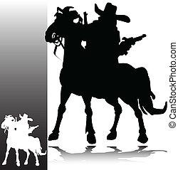 ilustración, vaquero