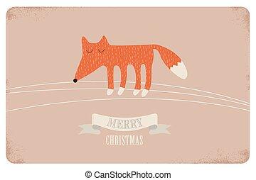 Ilustración,  vector, alegre, navidad, tarjeta, diseño