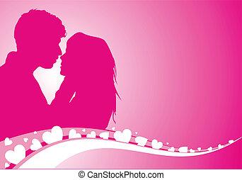 ilustración, vector, amantes, plano de fondo