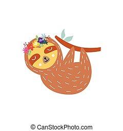 ilustración, vector, animal, corona, lindo, -, plano, flor, ...