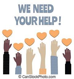 ilustración, vector, ayuda, voluntario, social, nosotros, ...