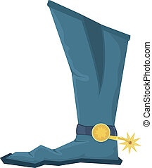 ilustración, vector, botas, spoor, vaquero