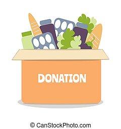 ilustración, vector, caja, social, donación, alimento, ...