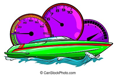ilustración, vector, carrera, diseño, barco, arte, motor