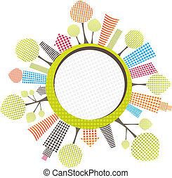 ilustración, vector, ciudad, círculo, árbol.