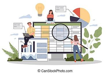 ilustración, vector, contabilidad, informe