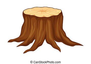 ilustración, vector, corte, bosque, tocón, fresco, elemento, marrón, cabo, o
