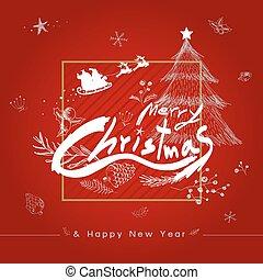 ilustración, vector, diseño, alegre, año, nuevo, navidad, feliz