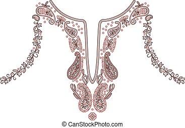 ilustración, vector, diseño, moda, escote