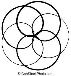ilustración, vector, formas, elementos, floritura, lazo