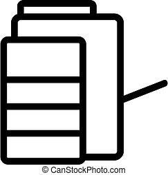 ilustración, vector, icono, fotocopiadora, multifunctional, contorno