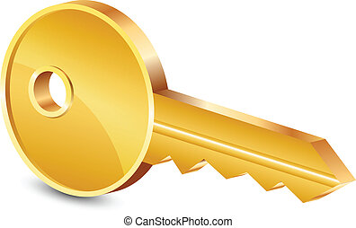 ilustración, vector, llave oro