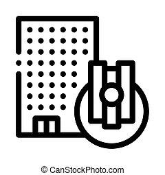 ilustración, vector, palanca, contorno, icono, control