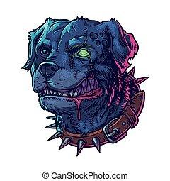 ilustración, vector, perro, mal, enojado