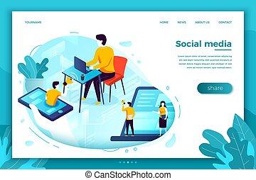 ilustración, vector, red, anuncio, social