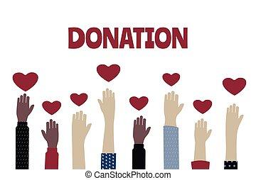 ilustración, vector, símbolo, voluntario, social, manos, ...