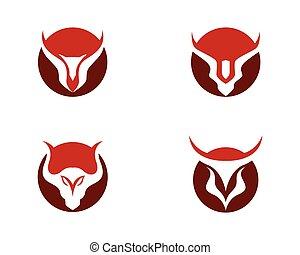 ilustración, vector, tauro, plantilla, toro, logotipo, rojo...