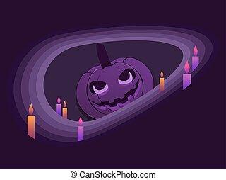 ilustración, velas, calabaza, corte, 31st., style., color., feliz, octubre, papel, violeta, halloween, vector, farol gato o