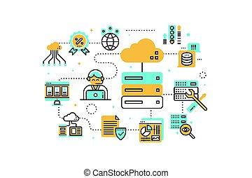 ilustración, web ofrecer
