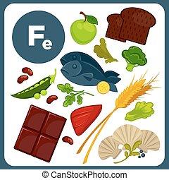 ilustraciones, alimento, fe., mineral